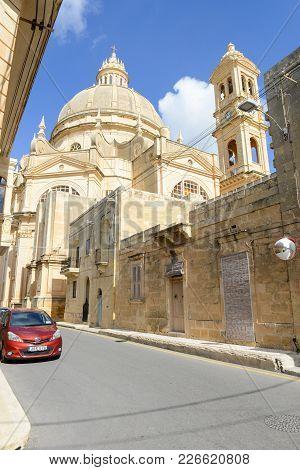 Victoria, Malta - 30 October 2017: The Church Of Saint John The Baptist In The Town Xewkija On Gozo