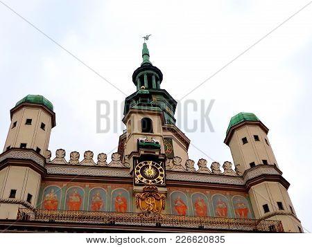 Poznan, Poland - December 02, 2017: The Facade Of The Renaissance Town Hall Building