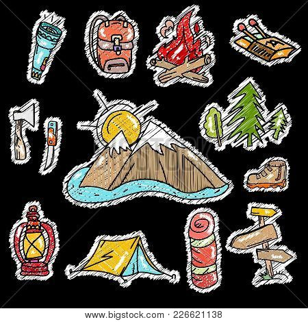Embroidery Camping Stickers Pop Art Style, Tourism Equipment Symbols And Icons. Mountains, Tent, Bac