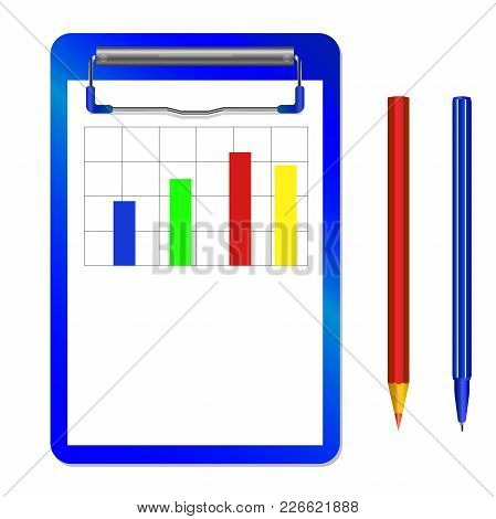 Folder With Clip With Diagram And Color Pencil And Pen Vector Isolated On White