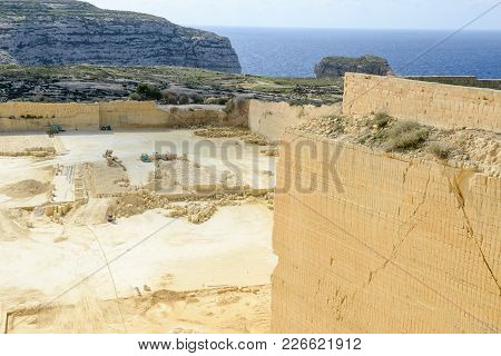 Limestone Quarry Industry At Gozo Island On Malta
