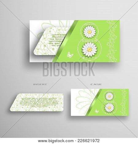 Vector Set Of Green Greeting And White Envelope With Insert For 8 Of March - International Women's D