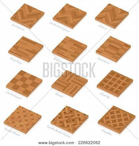 Parquetry. Three-dimensional Wooden Floor Plates. Most Popular Wood Flooring Parquets With Names - I