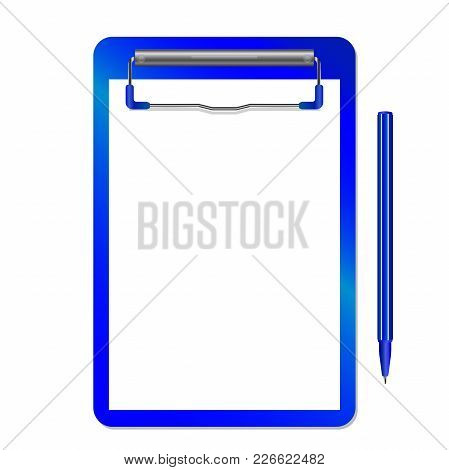 Folder With Clip Vector  And Pen Isolated On White