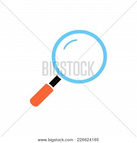 Colorful Magnifier Icon In Flat Style. Isolated Magnifier Icon For Use In Variety Of Projects. Simpl