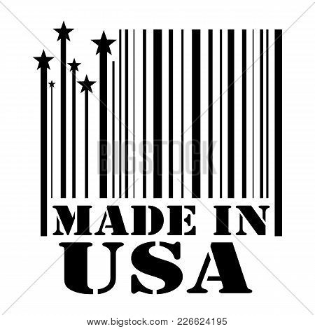 Stamp Made In Usa In The Form Of A Barcode. Vector Illustration To Refer To Goods And Products From