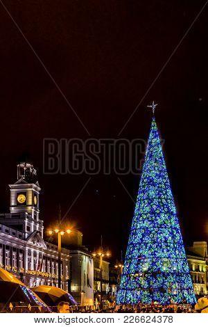 Christmas Decoration Nigth Scene, Madrid, Spain