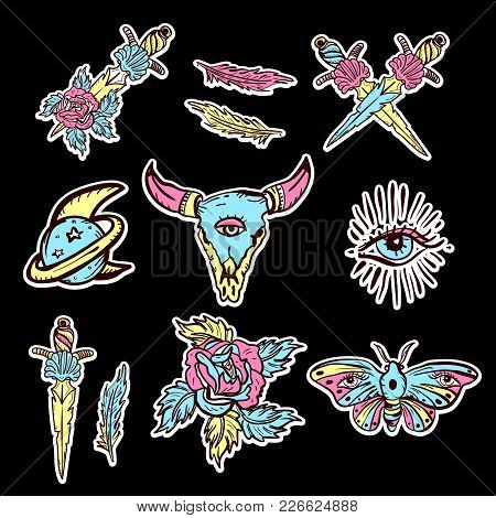 Old School Set Of Esoteric Color Tattoo Elements. Skull Bull, Rose, Knife, Butterfly, Moon. Esoteric