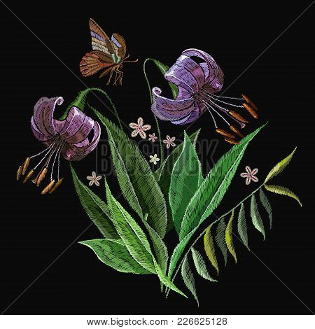 Embroidery Lilies Clothes Design. Embroidery Tiger Lillies. Beautiful Tiger Lillies Classical Embroi