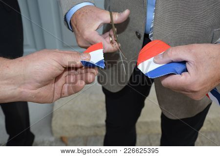 French Ribbon (inauguration) Cut With A Pair Of Scissors