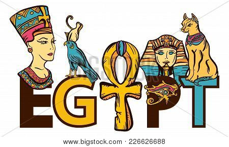 Ancient Egypt Seamless Pattern, Old School Tattoo. Egypt - Slogan. Pharaoh, Ankh, Eye Ra, Nefertiti,