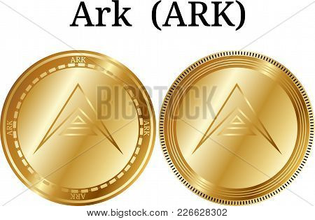 Set Of Physical Golden Coin Ark (ark), Digital Cryptocurrency. Ark (ark) Icon Set. Vector Illustrati
