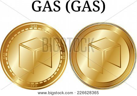Set Of Physical Golden Coin Gas (gas), Digital Cryptocurrency. Gas (gas) Icon Set. Vector Illustrati