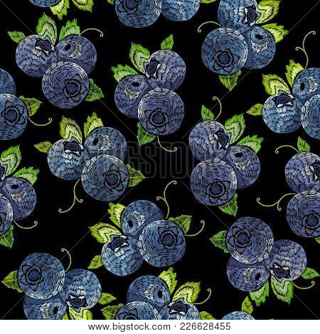 Bilberry Berry Embroidery Vector Seamless Pattern. Natural Fresh Bilberry Embroidery Background Patt