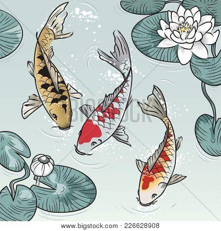 Three Koi-fish Among Water-lilys In The Lake