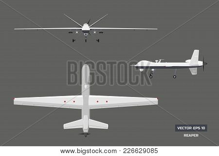3d Image Of Military Drone. Top, Front And Side View. Army Aircraft For Intelligence And Attack.  In