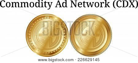 Set Of Physical Golden Coin Commodity Ad Network (cdx), Digital Cryptocurrency. Commodity Ad Network