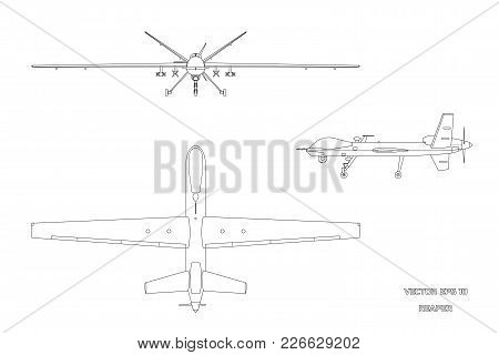 Outline Image Of Military Drone. Top, Front And Side View. Army Aircraft For Intelligence And Attack