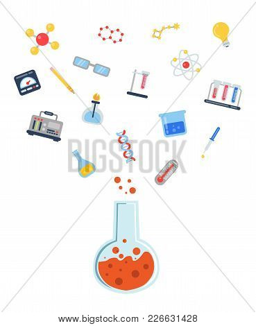Vector Flat Style Science Icons Flying Above Vial Concept Illustration