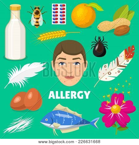 Allergy Vector Allergen Food And Allergic Milk Egg Peanut And Fish Illustration Of Allergenicity Set