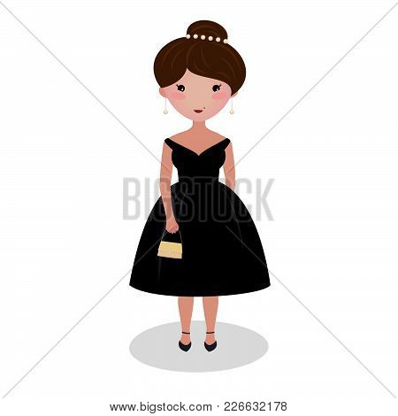 Young Girl Wearing An Elegant Midi Gown. Evening Outfit. Special Occasion Dress. Illustration. Class