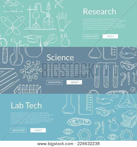 Vector Web Poster Or Banner Templates With Hand Drawn Science Elements Illustration