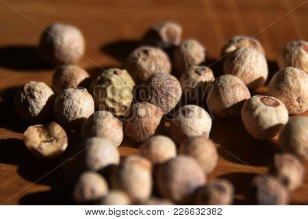 Close-up Of A Background Of White Peppercorns