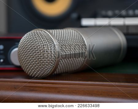 Portable Sound Card And Condenser Microphone. Concept Of Home Music Studio.
