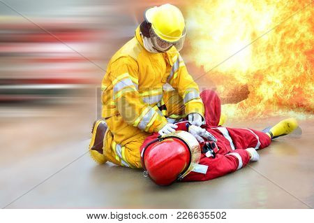 Fireman Get Accident In Action At Work.