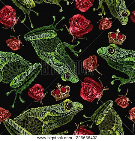Embroidery Frog And Buds Of Red Roses Seamless Pattern. Fantastic Background Classical Embroidery. F
