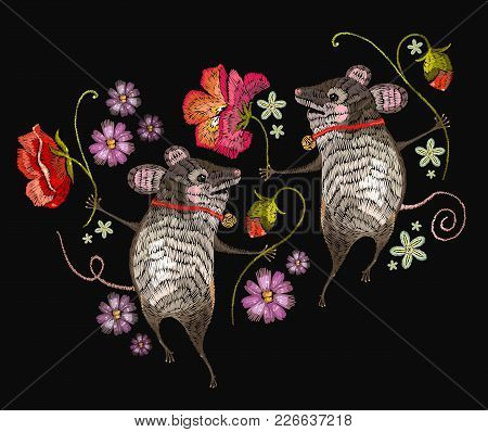 Embroidery Mouse. Two Cheerful Mice Are Danced In Flowers Classical Embroidery. Template For Clothes