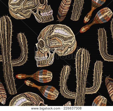 Embroidery Mexican Culture Seamless Pattern. Human Skull And Maracas, Cactus. Classical Ethnic Embro