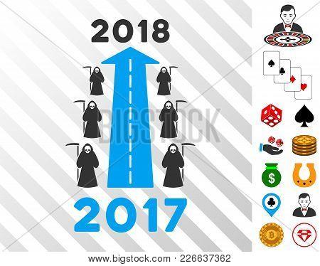 2018 Scytheman Future Road Pictograph With Bonus Gamble Clip Art. Vector Illustration Style Is Flat