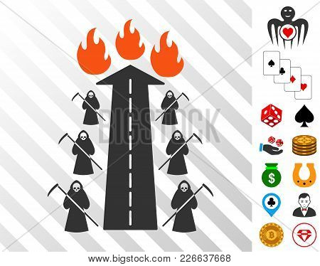 Road To Hell Fire Pictograph With Bonus Gambling Design Elements. Vector Illustration Style Is Flat