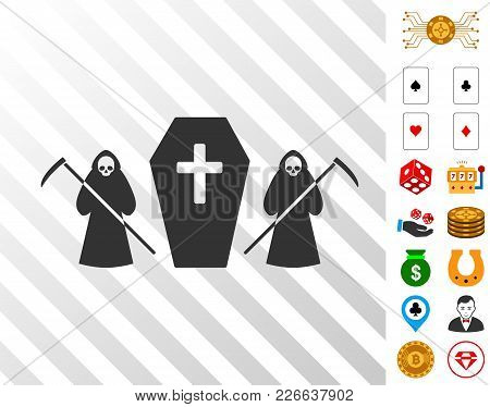 Scytheman Coffin Guard Pictograph With Bonus Casino Clip Art. Vector Illustration Style Is Flat Icon