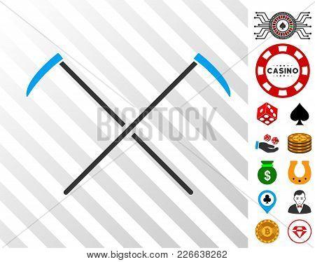 Scythes Icon With Bonus Gambling Images. Vector Illustration Style Is Flat Iconic Symbols. Designed