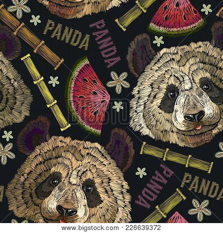 Embroidery Panda Head, Bamboo Forest And Flowers Seamless Pattern. Fashion Template For Clothes, Tex
