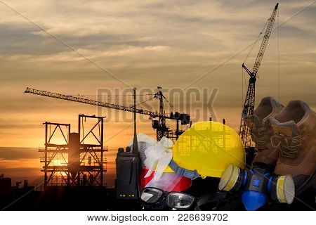 Safety In Construction Concept , Safety Standard Set Work Outdoor Wear Safety Equipment  At  Constru
