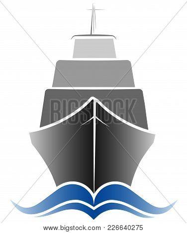 Logo Passenger Ocean Liner. Gray And Blue Color. Simple Design.