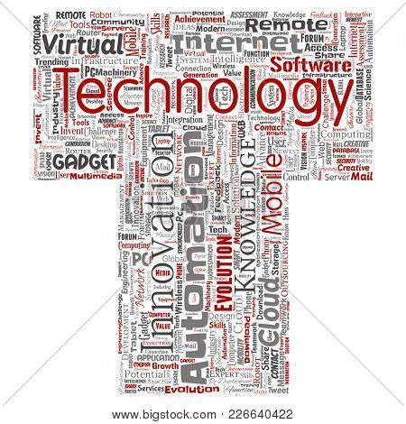 Conceptual digital smart technology, innovation media letter font T word cloud isolated background. Collage of information, internet, future development, research, evolution or intelligence