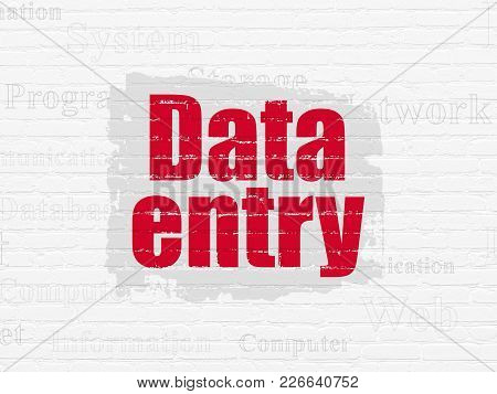 Information Concept: Painted Red Text Data Entry On White Brick Wall Background With  Tag Cloud