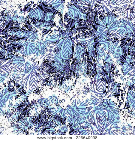 Geometric Grunge Pattern In Blue Colors On Hand Painted Background. Bold Print With Stripes And Abst