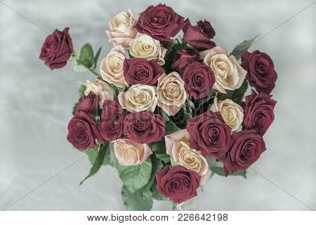 Bouquet Of Roses Of Pastel Toned Colors For Beloved, Top View, Symbol Of Love, Romantic Celebrations