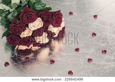 Bouquet Of Roses Of Two Colors For Beloved, Many Red Hearts, Symbol Of Love,valentine's Feast And Ro