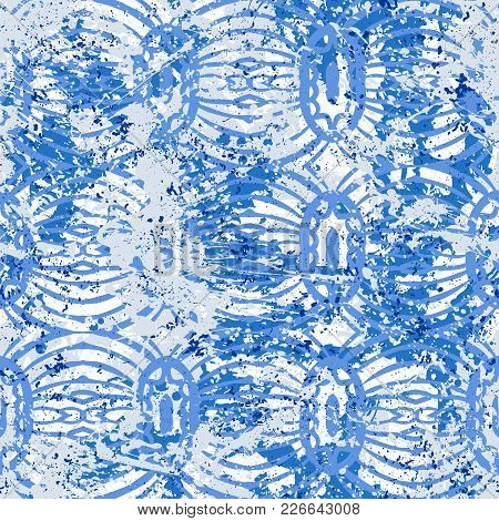 Geometric Grunge Pattern In Bright Blue Colors On Colorful Hand Painted Background. Bold Print With