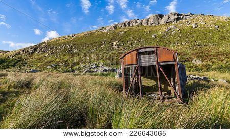 Derelict Site Trailer In The Yorkshire Dales Near Birkdale, North Yorkshire, England, Uk