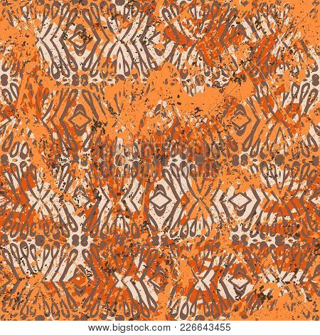 Geometric Grunge Pattern In Bright Orange Colors On Colorful Hand Painted Background. Bold Print Wit