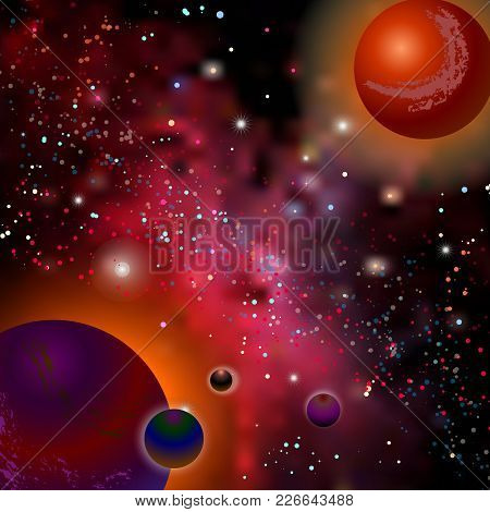 Realistic Open Space. The Milky Way, Stars And Planets. Cartoon Fantasy Space Landscape. Alien Plane