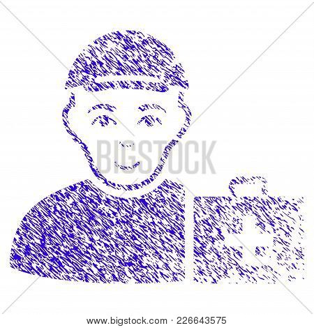 Grunge First Aid Man Rubber Seal Stamp Watermark. Icon Symbol With Grunge Design And Scratched Textu