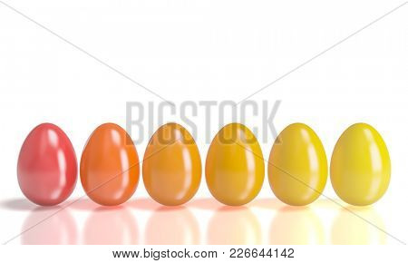 red and yellow gradation easter eggs 3d rendering image